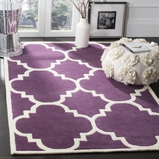 Safavieh Handmade Moroccan Chatham Purple Geometric Wool Rug (8'9 Square)