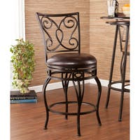 Harper Blvd Cambridge Brown Vinyl Upholstery Bronze Steel Swivel Counter Stool