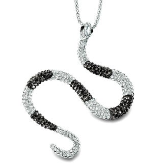 Silvertone Black and Clear Crystal Snake Necklace