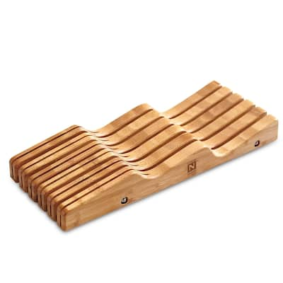 Cook N Home Bamboo 11-slot In-drawer Knife Storage Block