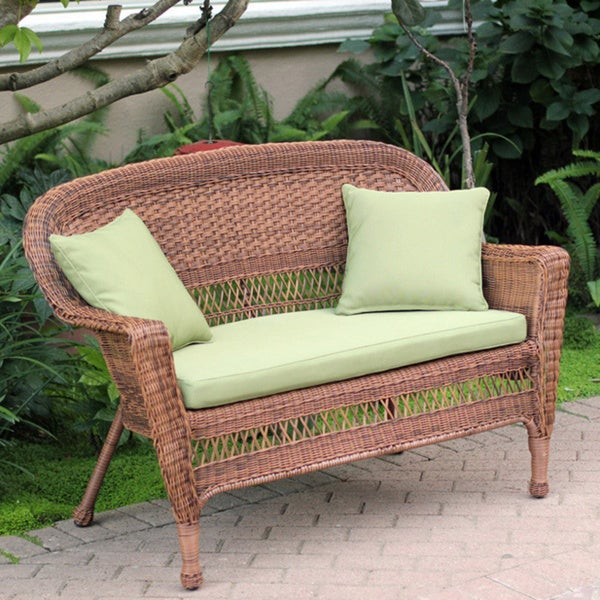 Honey Wicker Patio Loveseat With Cushion And Pillows