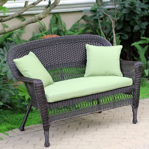 Wicker Espresso Finish Patio Loveseat with Cushion and Pillows