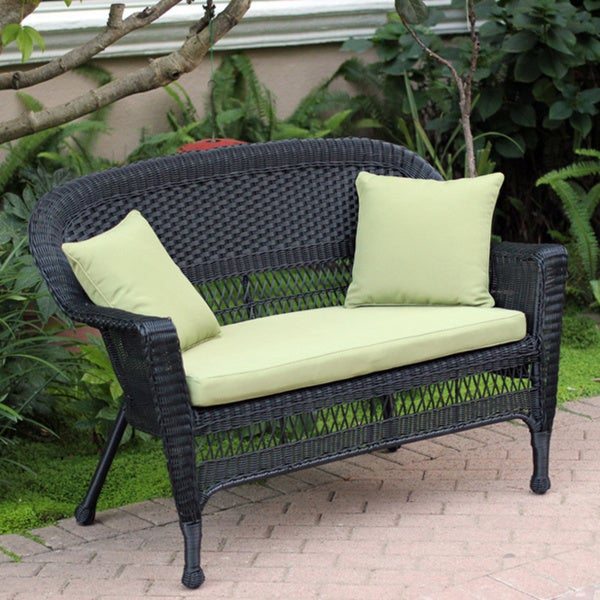Shop Wicker Black Finish Patio Loveseat With Cushion And