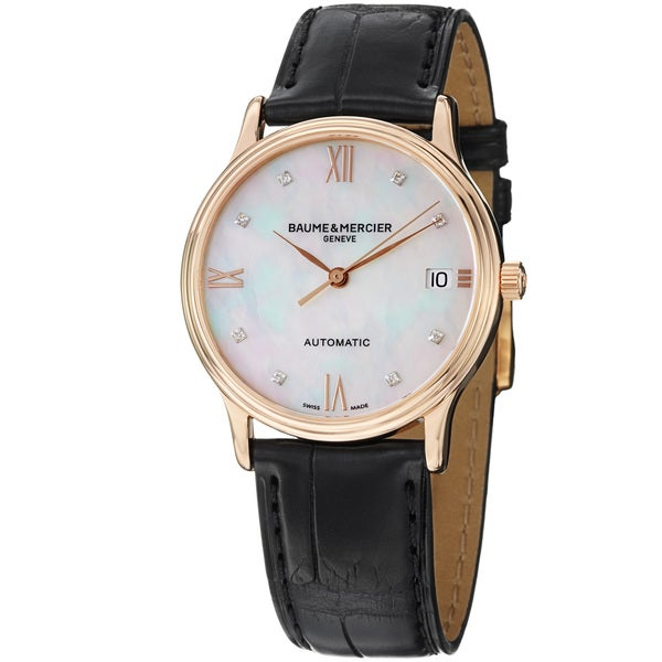 Baume & Mercier Women's 'Classima' Diamond Dial Rose Gold Strap Watch