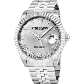 Stuhrling Original Men's Coronet Swiss Quartz Stainless Steel Bracelet Watch