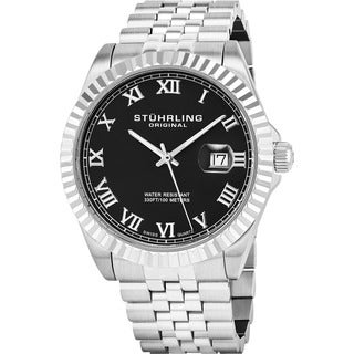 Stuhrling Original Men's Coronet Black-dial Swiss Quartz Stainless Steel Bracelet Watch