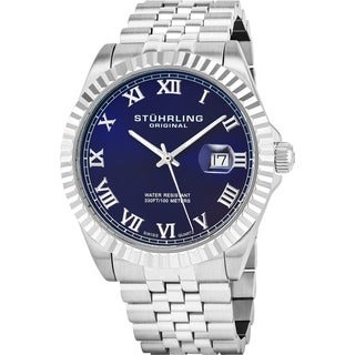 Stuhrling Original Men's Coronet Blue-dial Swiss Quartz Stainless Steel Bracelet Watch