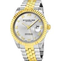 Stuhrling Original Men's Coronet Swiss Quartz Stainless Steel Bracelet Watch - silver