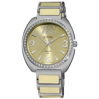 August Steiner Women's Diamonds Ceramic Link Bracelet Watch