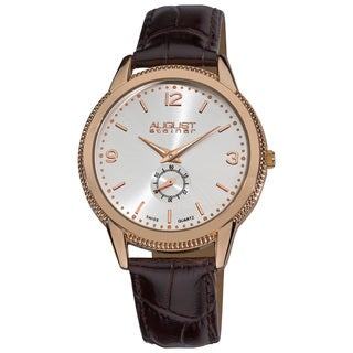 August Steiner Men's Swiss Quartz Rose-Tone Strap Watch