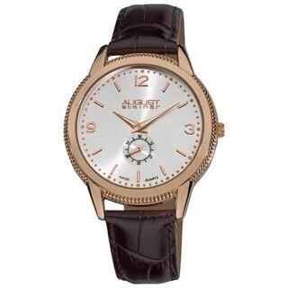 August Steiner Men's Swiss Quartz Rose-Tone Strap Watch