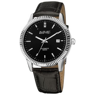 August Steiner Men's Diamond Automatic Black Watch with FREE GIFT