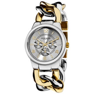Akribos XXIV Women's Twist Chain Quartz Multifunction Two-Tone Watch
