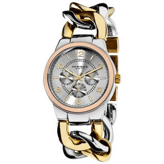 Akribos XXIV Women's Twist Chain Quartz RoseTone Bezel Multifunction Watch