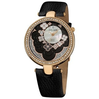 Akribos XXIV Women's Leather Black Strap Flower Dial Water-Resistant Watch