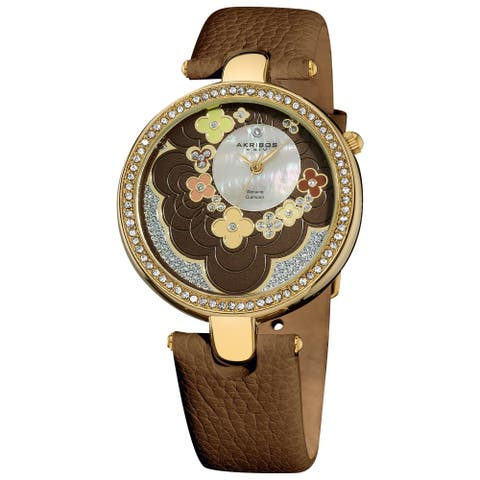Akribos XXIV Women's Swiss Quartz Leather Brown Strap Flower Dial Watch - green/multi/silver