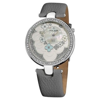 Akribos XXIV Women's Flower Dial Leather Grey Strap Watch