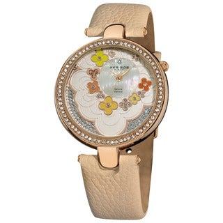 Akribos XXIV Women's Flower Dial Leather Rose-Tone Strap Watch