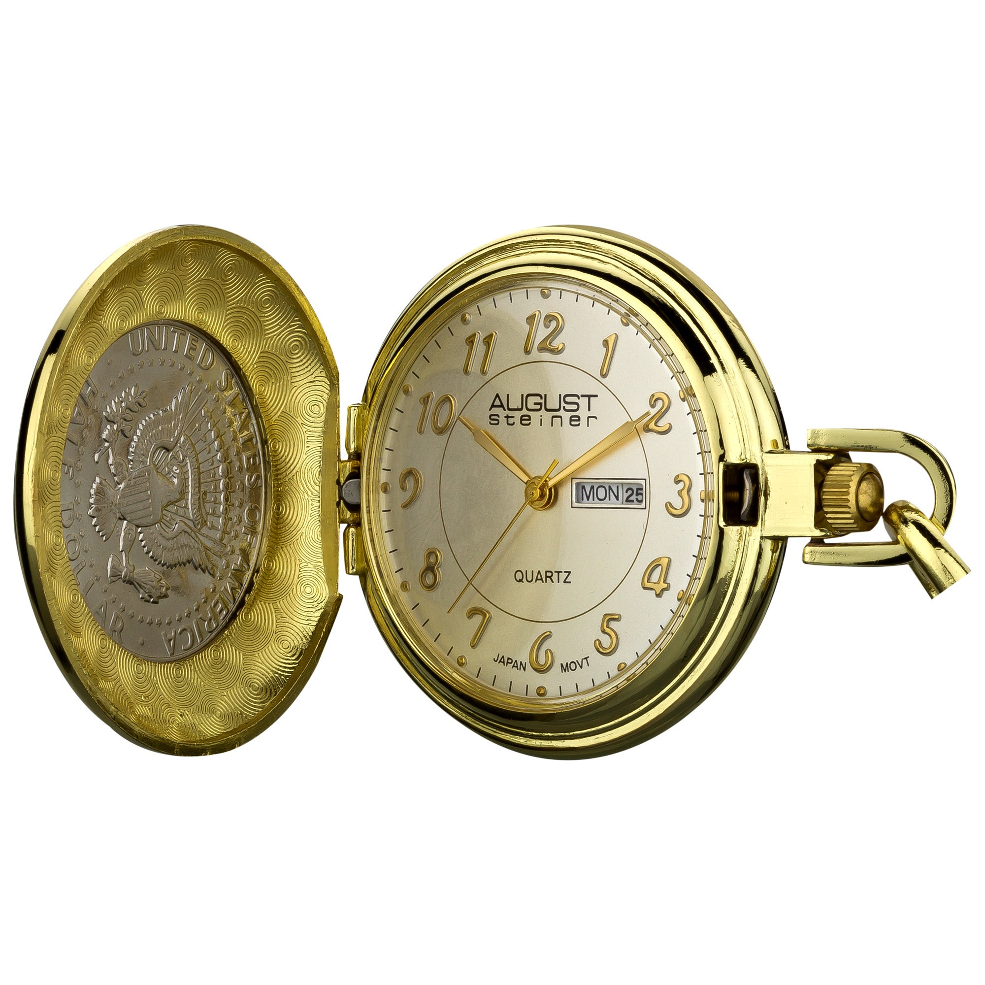 August Steiner Men's JFK Coin Pocket Watch (Gold-tone), B...