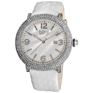 Burgi Women's Swiss Quartz Dial Leather White Strap Water-resistant Watch - Silver