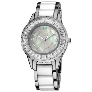 Burgi Women's Ceramic White Bracelet Baguette Quartz Watch