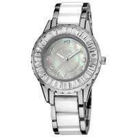 Burgi Women's Ceramic White Bracelet Baguette Quartz Watch