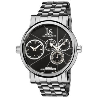 Joshua & Sons Men's Dual Time Stainless Steel Black Watch with FREE GIFT - Silver