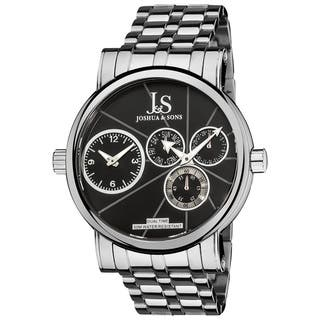 Joshua & Sons Men's Dual Time Stainless Steel Black Watch with FREE GIFT - Silver https://ak1.ostkcdn.com/images/products/8166280/8166280/Joshua-Sons-Mens-Dual-Time-Stainless-Steel-Watch-P15506006.jpg?impolicy=medium
