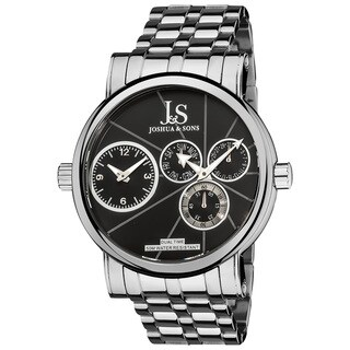 Joshua & Sons Men's Dual Time Stainless Steel Black Watch - Silver