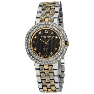 Akribos XXIV Women's Swiss Quartz Diamond Stainless Steel Screw-down Two-Tone Bracelet Watch