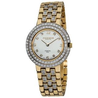 Akribos XXIV Women's Swiss Quartz Diamond Stainless Steel Goldtone Bracelet Watch