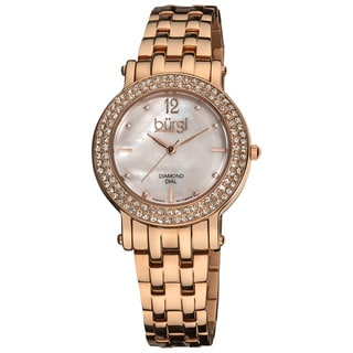 Burgi Women's Diamond Mother of Pearl Dial Stainless Steel Rose-Tone Bracelet Watch
