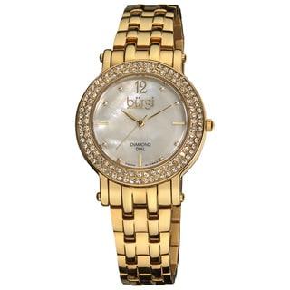 Burgi Women's Diamond Mother of Pearl Dial Stainless Steel Gold-Tone Bracelet Watch