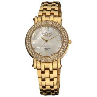 Burgi Women's Diamond Mother of Pearl Dial Stainless Steel Gold-Tone Bracelet Watch with FREE Bangle - White