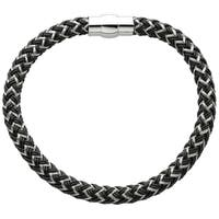 Stainless Steel Men's Black and Grey Thread Braided Cable Bracelet