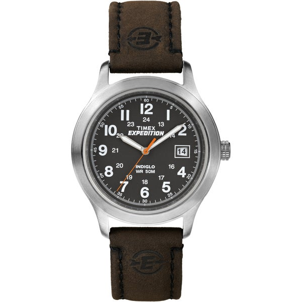 Timex T499549J Men's Expedition Metal Field Black Dial Brown Leather Strap Watch
