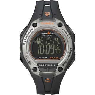 Timex T5K7589J Men's Ironman Traditional 30-lap Oversize Black/ Silvertone Digital Watch