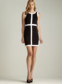 Philosophy Black Panel & White Trim Sleeveless Dress
