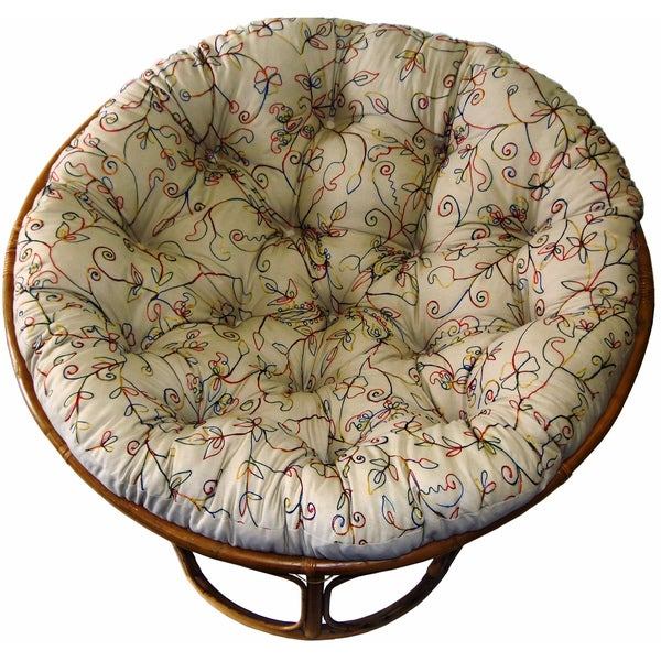 Celebration Papasan Embroidered Crewel Natural Chair