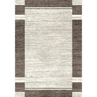 Eternity Bordered Silver/ Black Rug (3'11 x 5'7)