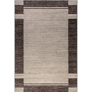 "Eternity Bordered Silver/ Black Rug (6'7 x 9'6) - 6'7"" x 9'6"""