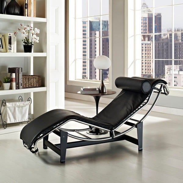 Le Corbusier Style LC4 Genuine Leather Chaise Lounge