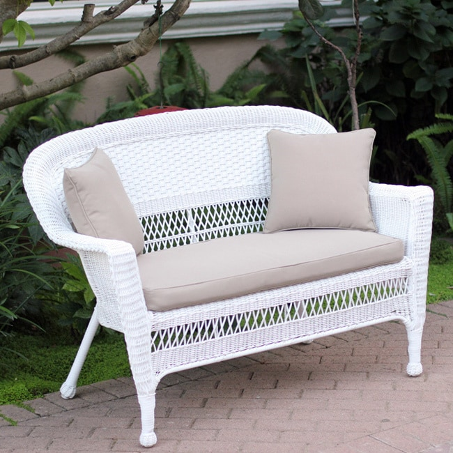 Astounding White Wicker Loveseat With Cushion And Pillows Cjindustries Chair Design For Home Cjindustriesco