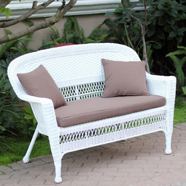 Shop White Wicker Loveseat With Cushion and Pillows - Free ...