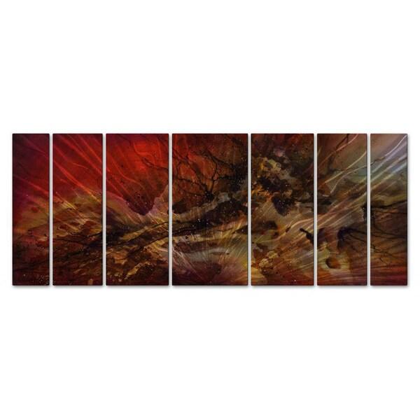 Contemporary 7 Piece Wall Décor Set : Michael lang red swells metal wall art piece set