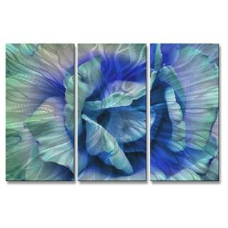 Allyson Kitts 'Blue Rose' Metal Wall Decor 3-piece Set