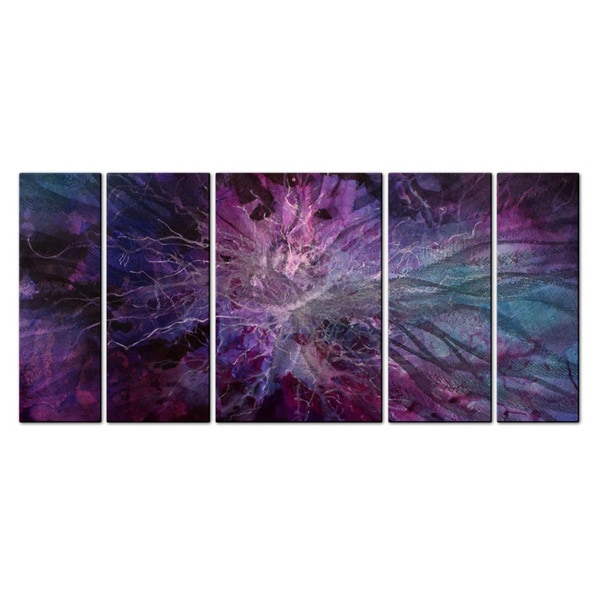 Overstock Wall Art michael lang 'violet universe' metal wall art - free shipping