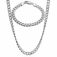 Stainless Steel Men's 8-mm Curb Chain Jewelry Set