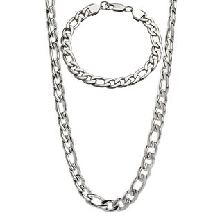 Stainless Steel Men's 9-mm Figaro Chain Jewelry Set - White