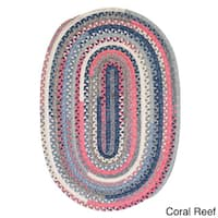 Perfect Stitch Multicolor Braided Cotton-blend Rug (2' x 3' Oval) - 2' x 3'